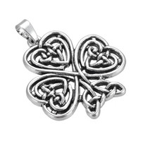 Wholesale Silver Tree Pendants - My Shape Zinc Alloy Antique Silver Clover Shape Tree of Life Pendant Religious Knot Charm for Bracelet or Necklace