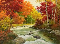 Wholesale original abstract art oil paintings resale online - Framed Scenic River Woods HD Art Print Original Oil Painting on Canvas high quality Home Wall Decor Multi Sizes