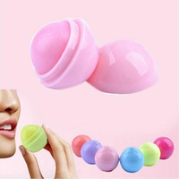 Wholesale Fruit Care - Cute Round Ball Lip Balm 3D Lipbalm Fruit Flavor Lip Smacker Natural Moisturizing Lips Care Balm Lipstick