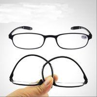 Wholesale Reading Sunglasses - Reading glasses portable mirror Sunglasses far sight Elderly glasses black brown Soft +100-+400 15g PC Plastic eyeglass frames wholesale