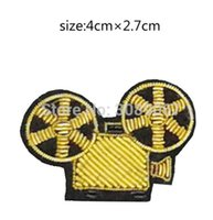 Wholesale Movies France - 2017 New High quality 3D HAND EMBROIDERED Movie Projector PIN Jewelry Patches Badge France BULLION WIRED BLAZER BROOCHES