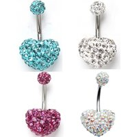 """Wholesale 14 Belly Ring - 14G Belly Button Ring Heart Bling Czech Crystal Classic Belly Button Naval Ring 14 Gauge 3 8"""" Inch Barbell"""
