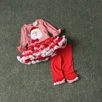 Wholesale Santa Outfits For Girls - Christmas Clothing Baby Kids Clothes Santa Claus TUTU Dress+Leggings 2 Pcs Suit 2016 Christmas Outfit Clothing Set For 1~6 Year