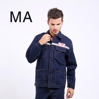 Wholesale Reflective Overalls - Men Clothes set MA Cowboy overalls welding thick wear-resistant sets of long-sleeved labor insurance tooling with a reflective strip