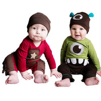 Wholesale Toddlers Romper Patterns - Baby Clothing 2016 Fall New Fashion Cute Printed Mike Wazowski Monster Mustache Pattern Romper Toddler Infant Climbing Clothes