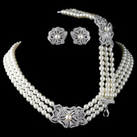 conjuntos de boda de marfil de la joyería al por mayor-Elegante tono de plata rodio aretes de cristal de diamantes de imitación de perla de marfil con pulsera Vintage Floral Conjuntos de joyas de boda