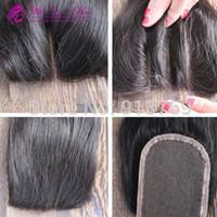 ingrosso chiusure nodali node-Chiusura superiore in pizzo brasiliano capelli lisci 3 vie parte 3,5x4 chiusura centrale con lacci nodo candeggiato tinto in capo