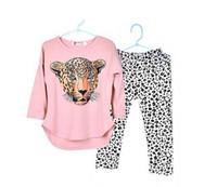 Wholesale Gray Legging Child - 2016 Girls Clothes Toddler Girls Clothing Sets Baby Girls Kids Clothes Children Clothing Full Sleeve T Shirt Leopard Legging Vestidos