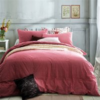 Wholesale Duvet Covers Cherry - Home textile100%High Quality Cotton knitting cherry-red Gingham 4 piece bedding sets queen size king size duvet cover bed sheet pillowcase