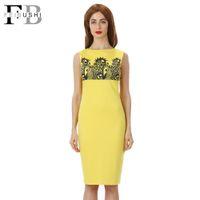 Wholesale Lace Tank Top Bodycon Dress - Sleeveless Tank Top Dress 2016 New Fashion Print Straight Cute Pencil Slim Bodycon Women Summer Elegant Vingate Dress