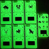 Wholesale Iphone Signs - 12 Zodiac Signs hard PC cases for iphone 6 plus noctilucence night light shockproof plating back covers for iphone 6 6s 6 6s plus