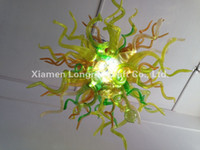 Atacado Crystal Lamp Modern Dining Room Decoração LED Light Source Chihuly Estilo Hand Blown Murano Glass Shade European Chandelier