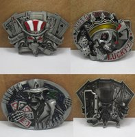 Wholesale Tattoo Belt Buckles - Wholesale Retail Skull Belt Buckle Dice Skull Tattoo Poker Casino Belt Buckle 3 Styles Free Shipping