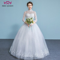 Wholesale Queen Size Vintage - ISER QUEEN High Collar Hollow Back Embroidery Wedding Dress 2018 Sheer Neck Illusion Long Sleeves Arab Muslim Wedding Bridal Gowns WX0027
