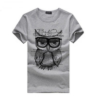 Wholesale Cheap Wholesale Mens Clothing - Wholesale-Cheap Hot Sale Fashion Men Owl Tees Printed Summer Short Sleeve T Shirt Cotton Mens Casual Basic Tee Shirts Clothes Plus Size