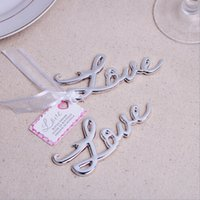 Wholesale Letter Opener Wedding Favor - Silver Golden Metal Love Beer Bottle Opener Wedding Party Favor Gift English Letters Keychain 10PCS LOT