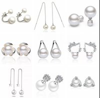 Wholesale Wholesale Cheap Crystal Ball Earrings - Cheap 925 sterling silver pearl dangle earrings jewelry for women High quality big pearl charm rhinestone pearl ball earrings jewelry
