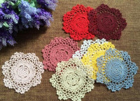 Wholesale Lace Cup Holders - Wholesale- Nice Round DIY crochet table place Mat cloth Placemat lace cotton pad Mat Cup holder glass Coaster mug doilies Kitchen tableware