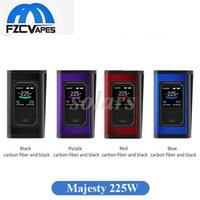Wholesale E Cigarette Fiber - Authentic SMOK Majesty 225W Box Mod Carbon Fiber Edition Changeable LED Color E Cigarette Vape Mod 100% Original