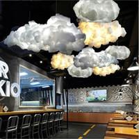 bulut aydınlatması toptan satış-Modern Yaratıcı Romantik Beyaz Ipek Pamuk Bulutlar Kolye Işık Beyaz Yumuşak Yüzer Asılı Işık Oturma odası Yatak Odası Restoran