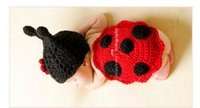 Wholesale baby shooting - 2016 New baby photography props shooting baby clothing knitted hat+clothes beetle style black&red color newborn shoot props