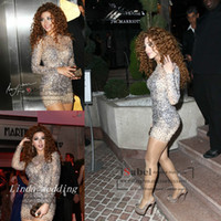 Wholesale sexy glitter club dresses - Lebanon Myriam Fares Bling Cocktail Dress Glitter Long Sleeve Beaded Short Formal Party Dress Celebrity-Inspired Dress