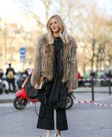 Wholesale high fashion coat for ladies - Winter Women Plus Size Fashion Faux Fur Leather Stripe Coat Wholesale Faux Fox Fur Ladies Outwear For Women Free Shipping