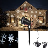 Wholesale Led Christmas Snowflakes - Hot New Moving Sparkling LED Snowflake Landscape Laser Projector Wall Lamp Xmas Light White Snow Sparkling Landscape Projector Lights