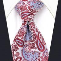 ingrosso vestito classico degli uomini-U17 White Paisley Pattern Mens Cravatte di seta fatti a mano da sposa Moda Classic Brand New Dress Accessori da uomo Cravatta