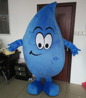 Wholesale Drop Mascot Costume - an adult blue water drop mascot costume with big smile for adult to wear for sale for promotion for party