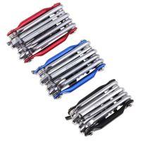 llave azul al por mayor-11in1 Kit de herramientas de reparación de ciclo de carretera de montaña múltiples Conjunto de herramientas de bicicleta de bicicleta Llavero cortador de cadena de destornillador negro / rojo / azul