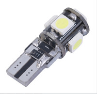 Wholesale Smd Led Warn White - 10pcs lot New T10 5050 SMD 5 LED W5W 194 Error Free White Light Bulb Canbus function warning canceller led Eorr free bulb