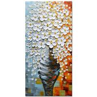 lienzo imagen vasos al por mayor-Gran Elegante Blanco Florero 3D Pinturas Al Óleo Sobre Lienzo Fotos Decoración Del Hogar Arte de La Pared Woods Enmarcado Estirada Obra de Arte