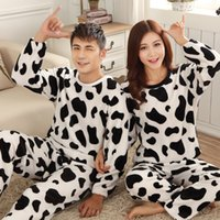Wholesale couples onesies - Wholesale-Autumn and Winter Pajamas Couple Pijamas Thick Flannel Tracksuit Cute Flannel Pajamas Set Lovers 2 Styles Free Shipping
