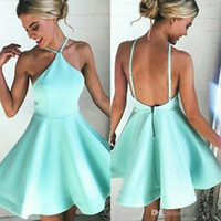 Wholesale mint green prom mini dress for sale - Group buy 2018 Halter Sexy Short Mint Green Satin Cocktail Party Dresses Backless Homecoming Gowns Custom Made Mini Prom Evening Dress BA6897