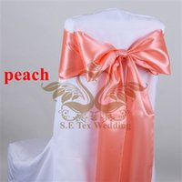 Wholesale Chair Covers Peach Sash - 100pcs Peach Color Satin Chair Sash Bow For Wedding Chair Cover Free Shipping