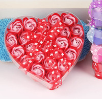 Wholesale Rose Shaped Bath Soaps - Free shipping High quality mix colors heart-shaped rose Soap flower(24pcs box.5boxes lot) for romantic bath  Wedding Gift Party Display