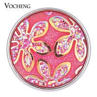 Wholesale metal snap flower buttons resale online - NOOSA Snap Charms Resin Copper Metal Colors mm Flower Button VOCHENG Vn