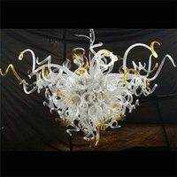 Wholesale murano glass heart shaped pendants resale online - Pure Colored Flower Design Hanging LED Chandelier Heart Shaped Murano Glass Art Pendant Italian Chandelier