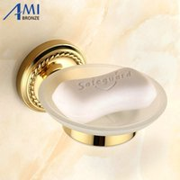 Wholesale Ceramics Sanitary Ware - Golden Brass Soap Dishes Disk Helder Bathroom Accessories Sanitary Wares 7005g