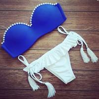 ingrosso le vendite di bikini di qualità-Vendita calda 2018 estate nuovo bikini con frange a strisce donne Bikini rosso Set costumi da bagno donna bikini di alta qualità maillot + spedizione gratuita