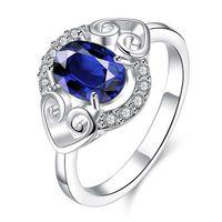 anillos de dedo de moda completa al por mayor-El amor de las mujeres La moda del diamante completo Anillo en forma de corazón Anillo de plata 925 STPR007-B nueva piedra azul esterlina plateada plata anillos de dedo