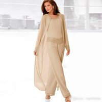 Wholesale Mother Bride Dres - 2017 Champagne Three Piece Mother of the Bride Pant Suits with Long Jackets Long Sleeves Beaded Chiffon Mother Plus Size Wedding Guest Dres