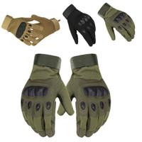 guante de moto al por mayor-Guantes tácticos militares Deportes al aire libre Disparo del ejército Paintball Airsoft Completo dedo Combate Moto guantes de fibra de carbono resistente al deslizamiento