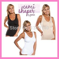Wholesale Thin Nylon Shaper - Wholesale-Cami shaper by Genie Bra with Removable Pads Look Thinner Instantly Women Slimming Shapewear Camisole Hot Shapers