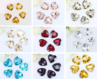 Wholesale Glass Beads For Sewing - 100pcs 10mm Heart Crystal Glass Beads Pointed Bottom For Sewing Wedding shoes Bag Fascinator Jewelry Diy Craft