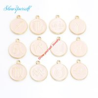 12pcs plaqué or émail Constellation Charms Pendentifs pour Collier Jewelry Making Handmade bricolage 15mm