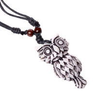 Wholesale Beaded Owl Necklaces - Fashion Jewelry Owl Necklace Woen's Personality Wax Rope Beaded Resin Clavicle Necklace Casual Vintage Punk Necklace N0006