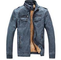 Wholesale orange coat fur collar - Motorcycle Jacket Men's Genuine Leather Jacket Cowhide Calf Skin Black Slim Men's Leather Jacket Male Biker Coat