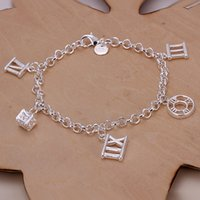 Wholesale Silver Sterling Roman - best gift Roman five hanging 925 silver charm bracelet 20cm DFMWB184,women's sterling silver plated jewelry bracelet